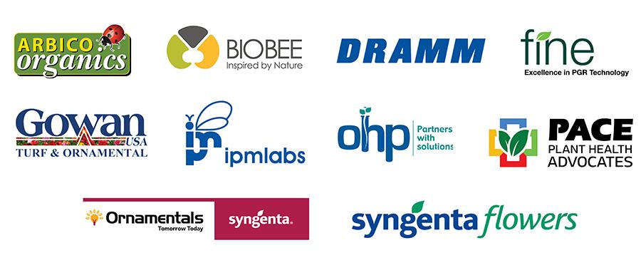 DIG sponsors - Arbico Organixs, BioBee, DRAMM, Fine, Gowan, IPMLabs, OHP, PACE, Syngenta ornamentals, and Syngenta Flowers