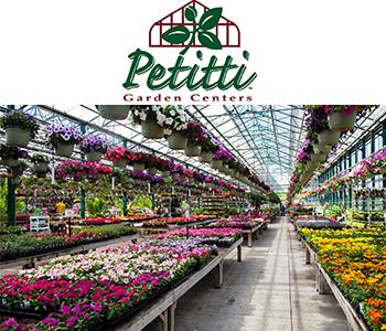 Petitti Garden Center logo and greenhouse