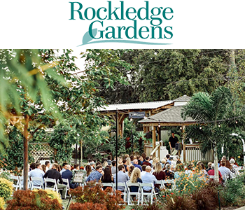 Rockledge Gardens logo and gazebo photo