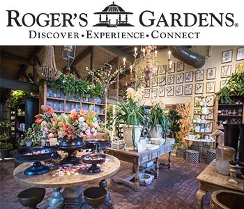 Roger's Gardens logo and shop interior photo